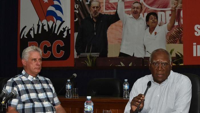 Miguel Díaz-Canel y Salvador Valdés Mesa en Matanzas.