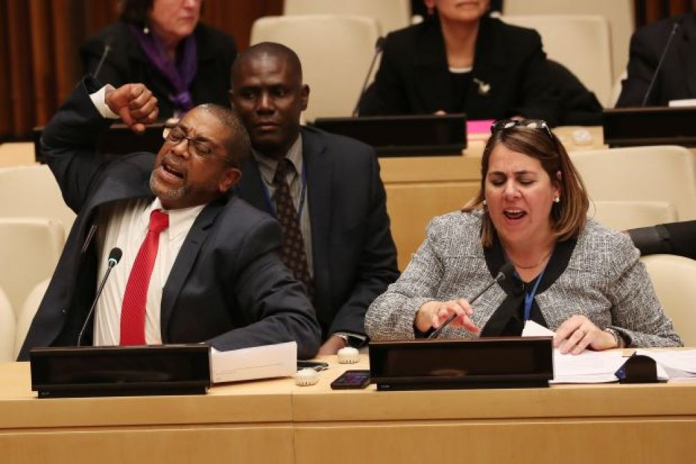 Members of the Cuban delegation to the UN, boycotting an event.