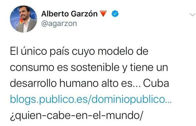 El tuit borrado por Garzón.