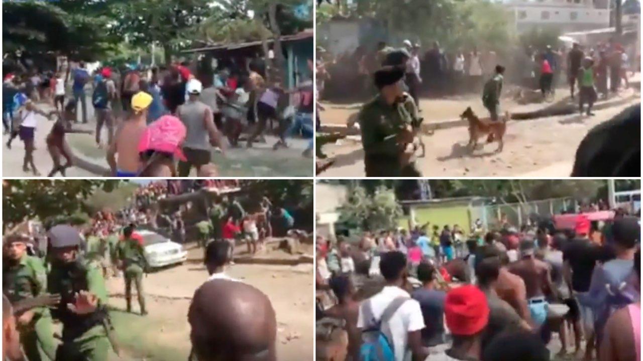 Imágenes de enfrentamiento entre vecinos y fuerzas policiales en Santiago de Cuba.