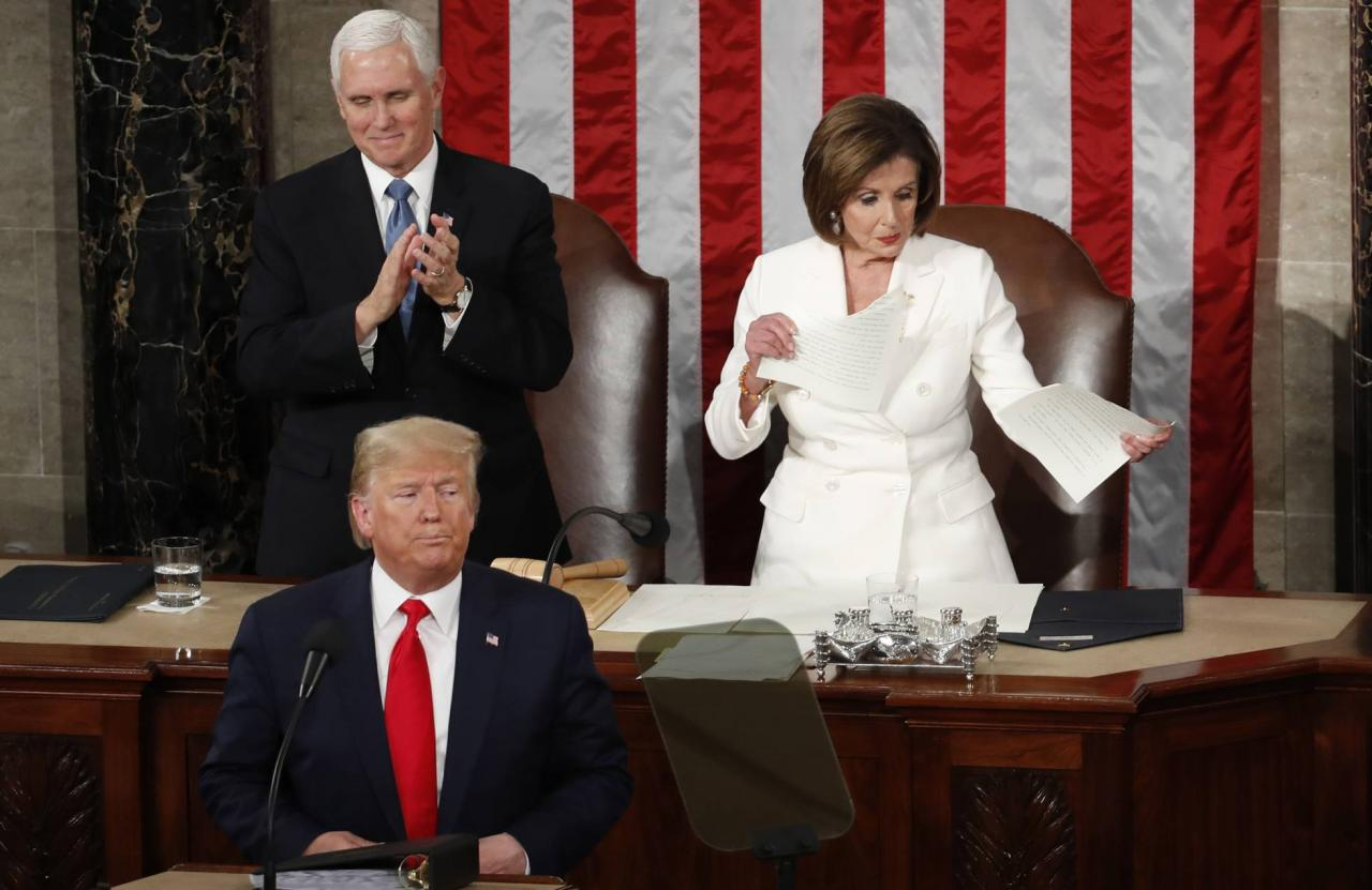 Donald Trump, Mike Pence y Nancy Pelosi.