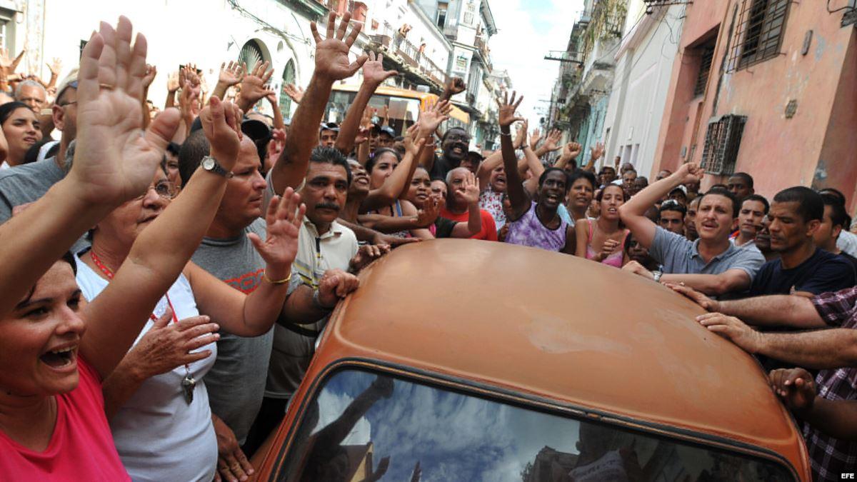 Un acto de repudio posterior a 1980 en La Habana.