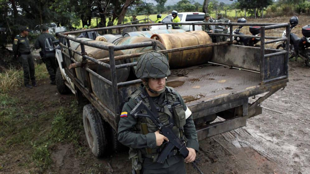 Un soldado colombiano durante una operación en Cúcuta, en la frontera con Venezuela.