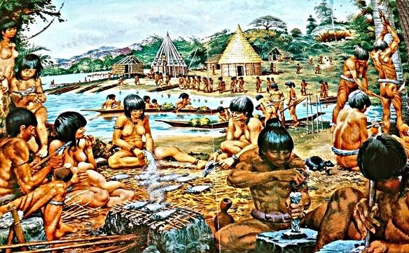 Comunidad taína, según un manual de historia.