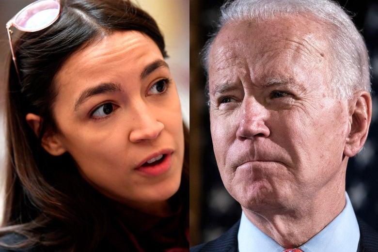 Alexandria Ocasio-Cortez y Joe Biden.