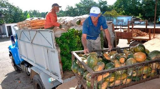 Camión con productos agrícolas para su distribución en Cuba.