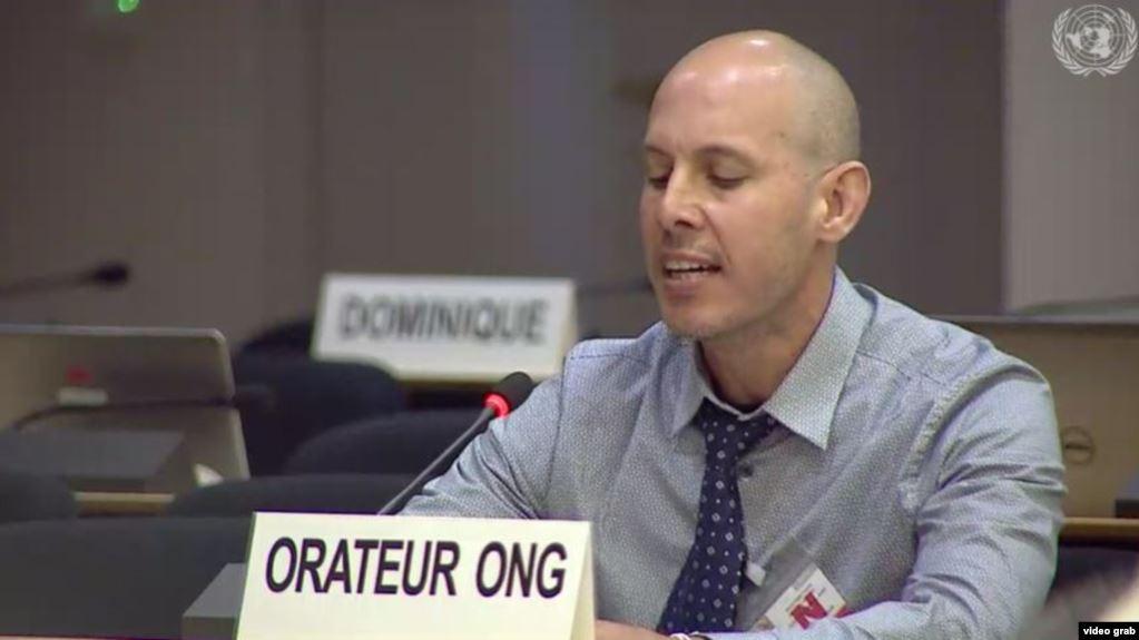 El científico cubano Ariel Ruiz Urquiola ante el Consejo de Derechos Humanos de la ONU.