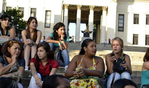 A group of young university students on the steps of the Colina Universitaria in Havana.