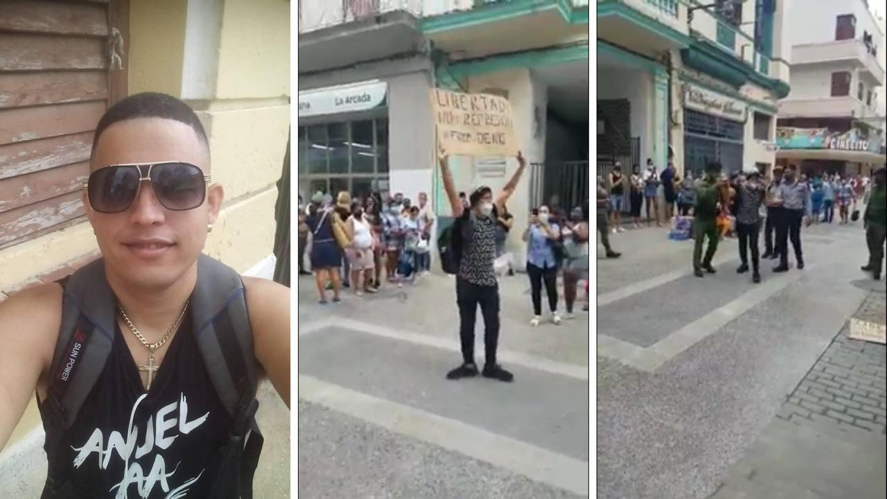Luis Robles Elizastigui en una foto de su cuenta de Facebook y en imágenes de su protesta.