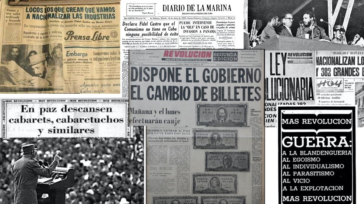 Titulares de prensa a inicios de la revolución.