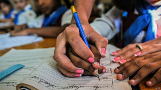 Una aula escolar en Cuba.